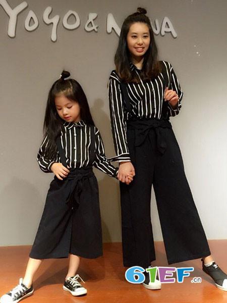 呗呗熊童装品牌2018秋冬母女装背带裤