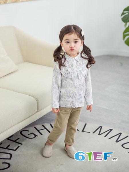 安米莉AMILRIS龙8国际娱乐官网品牌2018秋冬新款韩版宽松碎花棉布衬衫