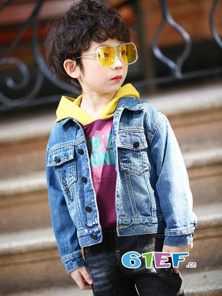 淘气贝贝童装品牌2018秋冬棉麻长袖休闲外套