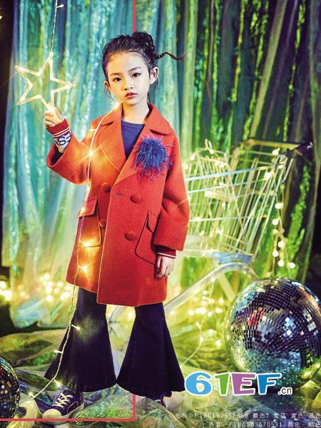 小资范童装品牌2018秋冬时尚女童双面羊绒大衣儿童公主范加长款时尚大牌呢子大衣