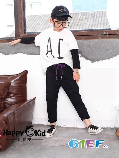 小嗨皮童装品牌2018秋冬新款 男童个性字母拼接袖假两件卫衣休闲T恤