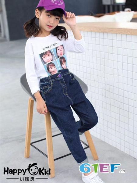 小嗨皮童装品牌2018秋冬女童牛仔裤新款中大童休闲长裤儿童修身