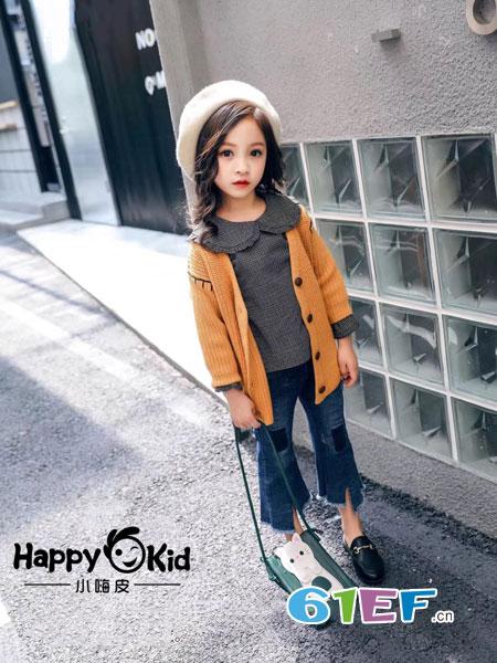 小嗨皮童装品牌2018秋冬毛衣开衫V领单排扣加厚儿童针织衫 中大童外套