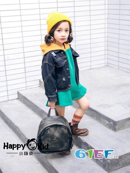 小嗨皮童装品牌2018秋冬儿童牛仔外套 拼接刺绣假两件连帽夹克