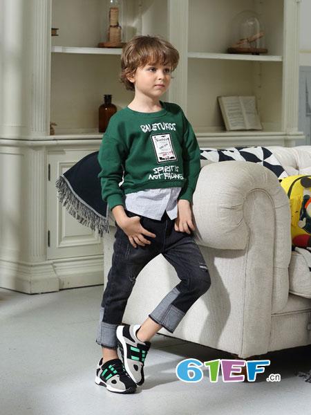 芭乐兔童装品牌2018秋冬儿童大童加绒加厚卫衣洋气两件套