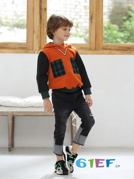 芭乐兔童装品牌2018秋冬立体几何图案打底毛衣拼接儿童童装