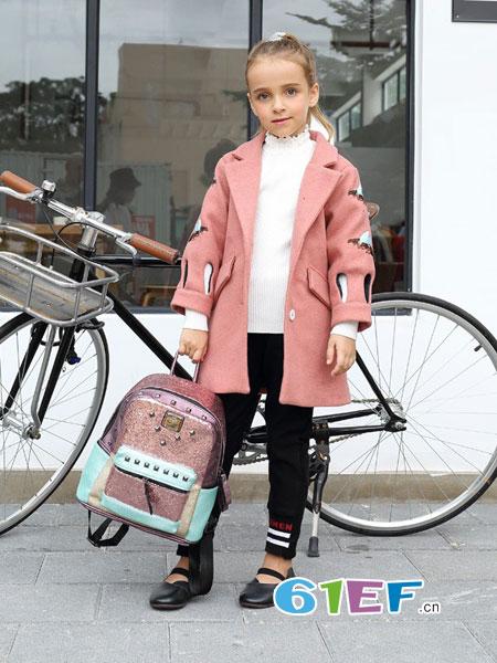 芭乐兔童装品牌2018秋冬新款儿童中大童刺绣呢大衣女孩外套潮