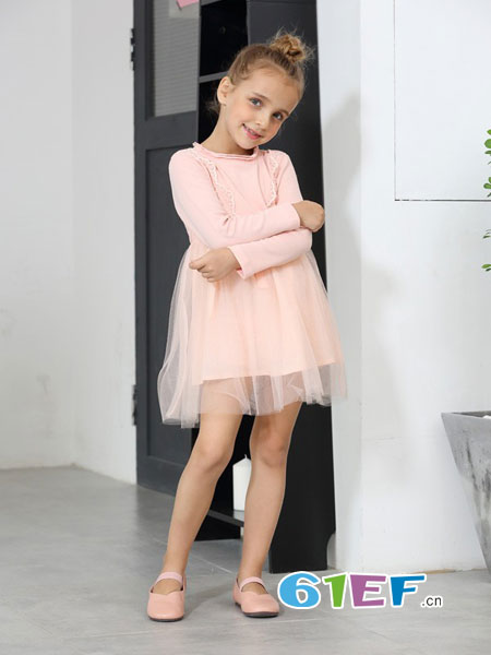 芭乐兔童装品牌2018秋冬新款中大童学生针织长袖公主纱纱裙