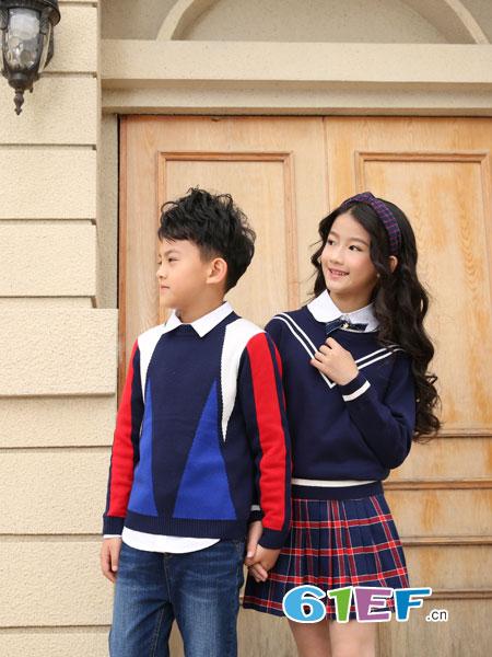 可趣可奇童装品牌2018秋冬清新学生拼色圆领宽松百搭长袖上衣