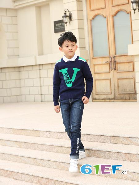 可趣可奇童装品牌2018秋冬保暖加绒冬季儿童毛衣男童