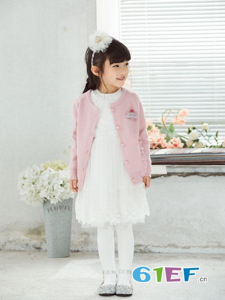 可趣可奇童装品牌2018秋冬中长款毛呢连衣裙羊绒衫