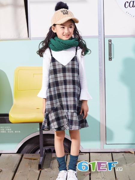 卡儿菲特童装品牌2018秋冬背带裙中大女童韩版裙子打底衫两件套