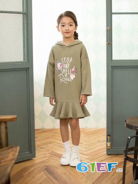 酷小孩童装品牌2018秋冬连帽卫衣裙