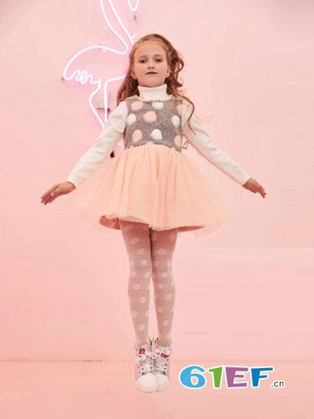 小猪班纳童装品牌2018秋冬时尚毛衣裙女童中大童长袖连衣裙韩版公主裙
