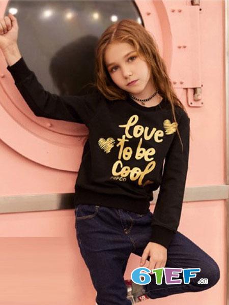 小猪班纳童装品牌2018秋冬棉质字母图案长袖针织套衫毛衣
