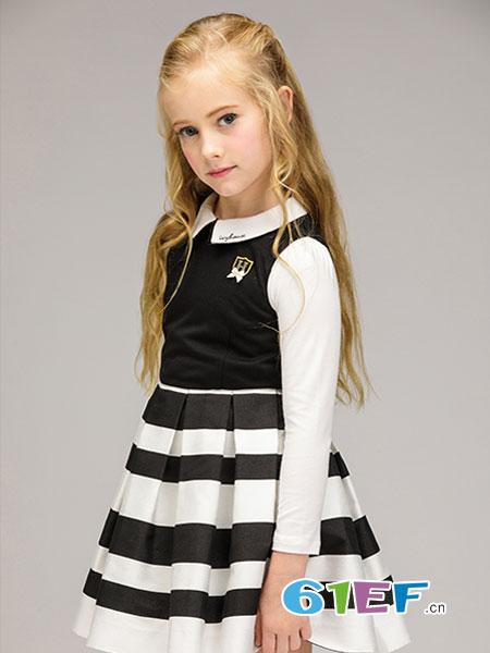 常春藤童装品牌2018春夏女童条纹背心裙 新款中大童拼接连衣裙