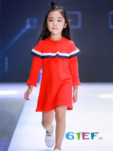mini petrel童装品牌2019中大童长袖裙子撞色儿童公主裙韩版