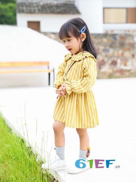 木言汀童装品牌2018秋冬韩版时尚公主中小童洋气休闲长袖条纹连衣裙
