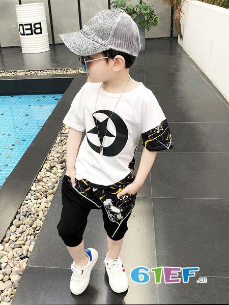 韩红宇童装品牌2019春夏韩版洋气童装男童新款套装两件套