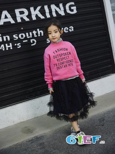 欧卡星童装品牌2018秋冬女童卫衣中大童韩版学生休闲套头上衣