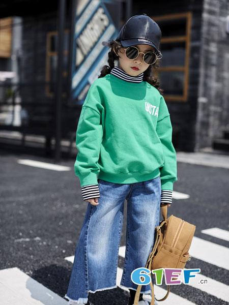 欧卡星龙8国际娱乐官网品牌2018秋冬韩版女童牛仔裤圆领卫衣两件套