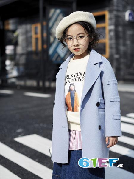 欧卡星童装品牌2018秋冬休闲长袖中长款风衣外套