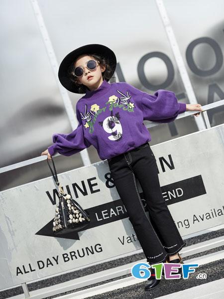 欧卡星童装品牌2018秋冬新款终端儿童女童数字刺绣长袖卫衣T恤