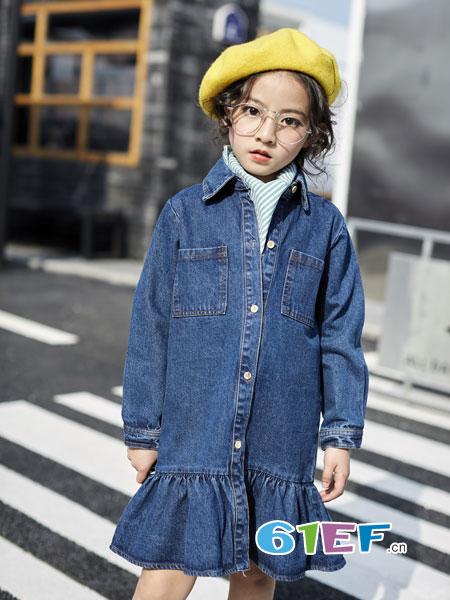 欧卡星童装品牌2018秋冬韩版时尚中大童7牛仔长袖5洋气裙子潮
