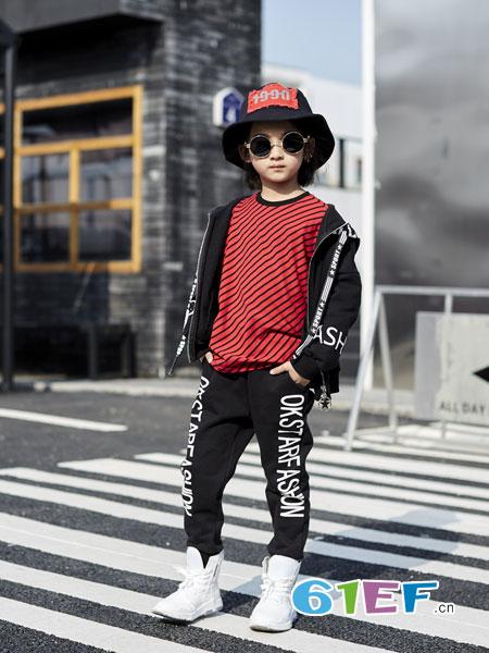 欧卡星童装品牌2018秋冬上衣儿童拼接条纹长袖T恤