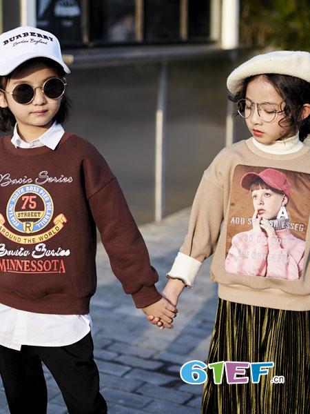 欧卡星童装品牌2018秋冬印花圆领加绒立领卫衣