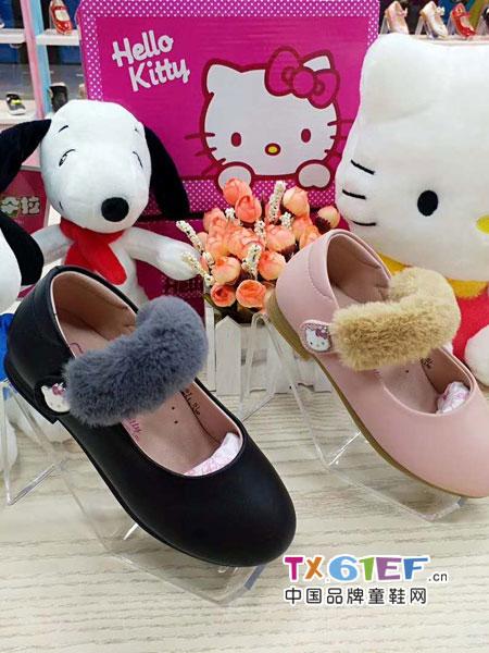 Hello Kitty�P蒂�童鞋品牌2018秋冬新款女童公主鞋�n版小白色春款�和�皮鞋
