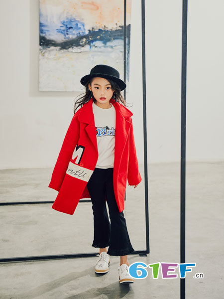 叽叽哇哇童装品牌2018秋冬韩版修身公主妮子中大童中长款尼子大衣