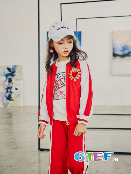 叽叽哇哇童装品牌2018秋冬新款夹克秋装宝宝加棉保暖红色