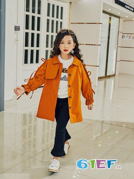叽叽哇哇童装品牌2018秋冬新款韩版中大童中长款女孩洋气蝙蝠衫儿童风衣
