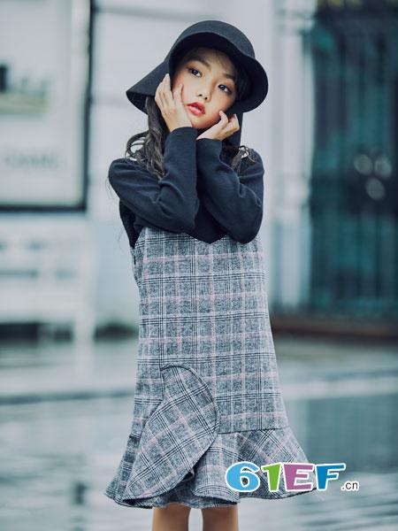 叽叽哇哇童装品牌2018秋冬新款时尚洋气儿童装裙子公主裙韩版女孩拼接裙