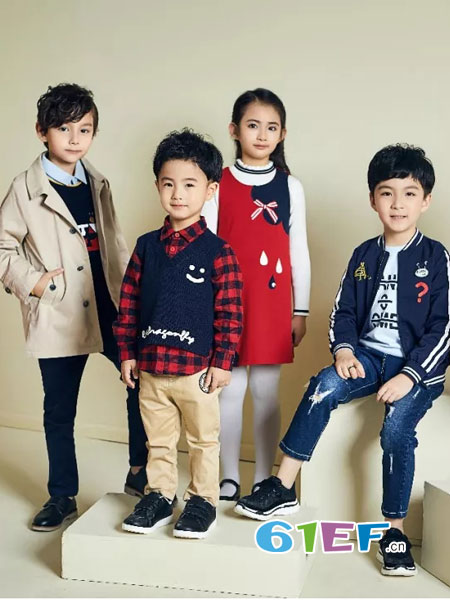 红蜻蜓KIDS童装品牌2018秋冬毛衣针织背心麻花V领马夹
