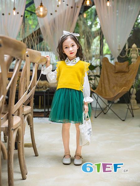 童品壹仓童装品牌2018秋冬韩版女孩娃娃领长袖公主裙毛衣裙两件套潮