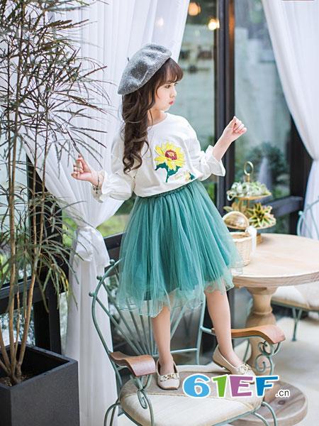 童品壹仓童装品牌2018秋冬洋气中大童韩版长袖网纱长裙公主裙两件套