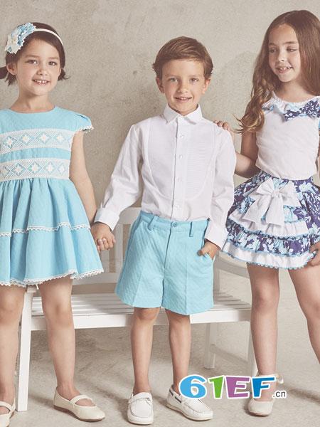 米兰达童装品牌2018春夏针织上衣 + 花色吊带裙 套装