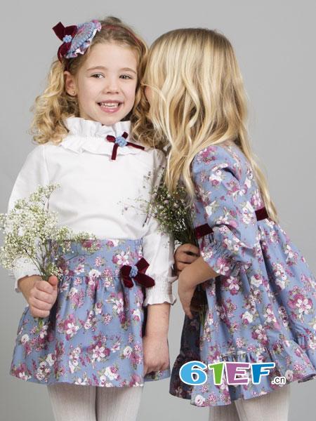 米兰达童装品牌2018春夏复古少女法式荷叶领雪纺衬衫杏色