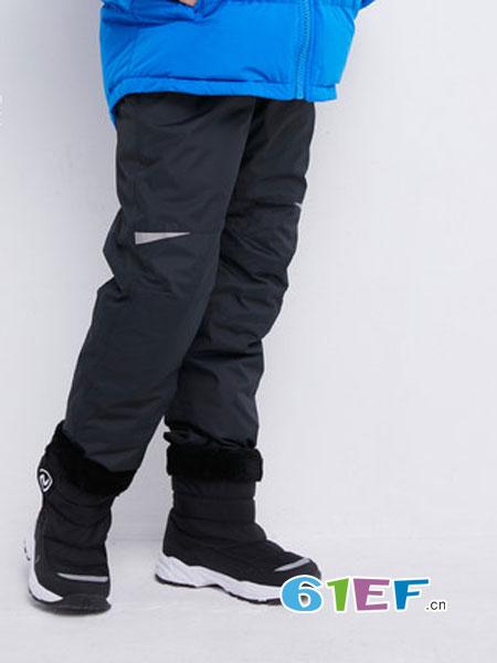 诺诗兰童装品牌2018秋冬新款儿童加绒加厚羽绒长裤外穿童装