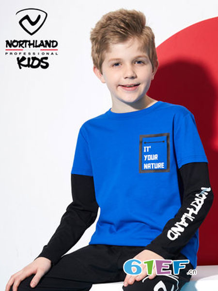 诺诗兰童装品牌2018秋冬新款儿童圆领时尚打底衫男童长袖假两件