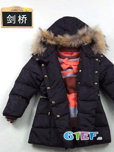 皮咖丘童装品牌2018秋冬儿童羽绒服 中长款 白鸭绒