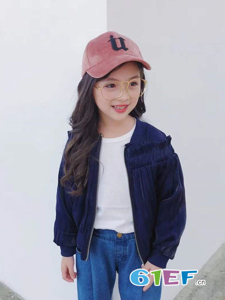 快乐精灵童装品牌2018秋冬蓝色休闲外套