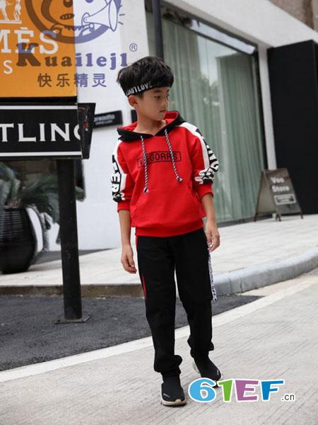 快乐精灵龙8国际娱乐官网品牌2018秋冬红色休闲运动服