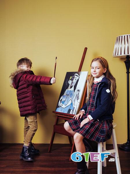 哈吉斯龙8国际娱乐官网品牌2018秋冬儿童羽绒服中大童外套白鸭绒