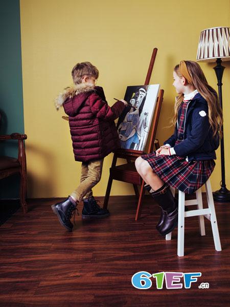 哈吉斯龙8国际娱乐官网品牌2018秋冬新款男女童小中大童中性款双排扣棉衣