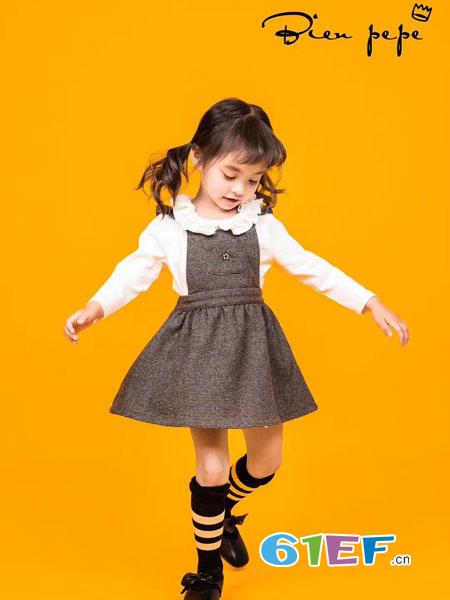 贝比Bienpepe童装品牌2018秋冬女童棉质条纹针织背带裙