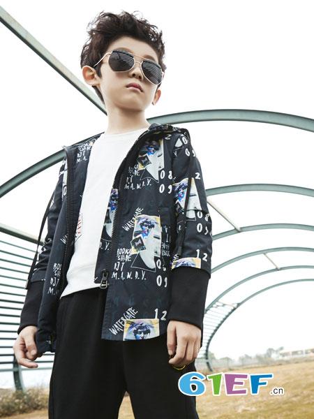 名书曼秀龙8国际娱乐官网品牌2018秋冬新款男童针织开衫外套V领中小童男孩上衣