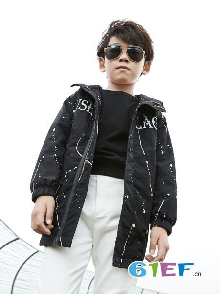 名书曼秀童装品牌2018秋冬圆领套头针织衫字母开衫线衫